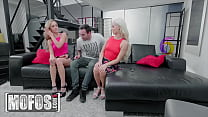 Sexy Step Sisters (Kali Roses, Elsa Jean) Get Jizzed In Their Mouth After A Hot Threesome - Mofos