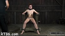 Pretty babe's fascinating teats receives painful torturing
