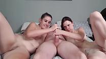 Two GIRLS massage 1 guys cock till he explodes