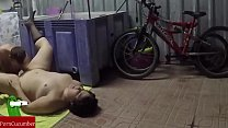Eating and c. with fat pussy in the garage. Homemade voyeur RAF165