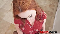 Attractive redhead step mom mouth fucked by hun...