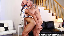 Big dicked daddy thrusts his cock in tight ass balls deep