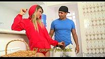 Lusty shemale gets her asshole rammed hard on the couch