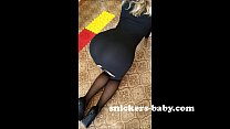 Black tight dress Hot teen sexy girl big ass st...