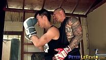 Boxer Asian jocks deepthroat before ball gagged ass drilling