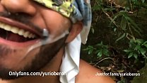 Fucking in the bush with bearded man taking cum in the face.