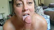Wife sucks cock and drinks cum with tits out
