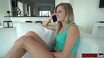 Brat stepsister teen punished by her older stepbrother