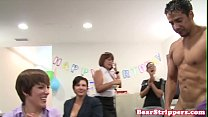 Office CFNM milfs sucking dick at party