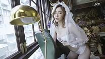 公众号【91报社】JKF性感女模艾比婚纱暗黑版诱惑