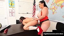 Curvy School Girls Angelina Castro & Gia Love StrapOn Fuck!