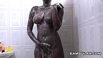 Natural ebony boops taking shower