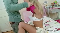 Petite Step-Sister Seduce to First Fuck and Facial by Him