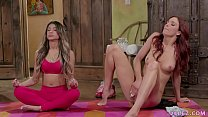 Veronica Rodriguez and Jayden Cole lick lesbian pussies after meditation thumbnail