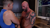 Gay stepson found out stepdad's secret and got by daddy on the kitchen