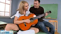 Schoolgirl teen fucked in the ass by her guitar teacher