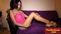 Skinny thai tgirl ladyboy tugs her dick