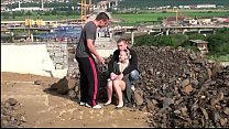 Cute blonde young girl public sex threesome with 2 guys at a construction site