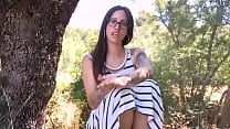 Brunette babe has a naked sex-date with a dude in the middle of the country