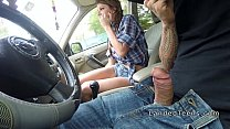 Busty teen cowgirl rode cock in public