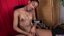 Black femboy masturbating while filmed