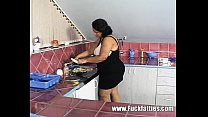 BBW fuck slut gets her pussy cocked in the kitchen thumbnail