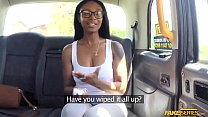 Ebony Lola Marie takes a large dick in the taxi video
