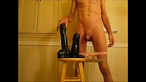 Ass Stretched Double Anal Huge Black Dildos Fucking