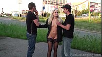 Pretty blonde PUBLIC street gangbang threesome orgy
