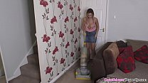 Big tits blonde babe cleaning the house with downblouse