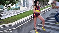Jeny Smith Yellow Heels public flashing