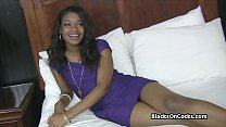 Banging pretty ebony teen amateur on audition's Thumb