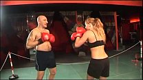 Hot boxer girl gives a blow job in the ring