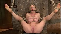 Busty MILF is tied and whipped