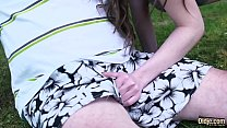 Teen tight pussy fucked by old man in the park she gives best young deepthroat blowjob and swallows cum thumbnail