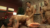 Tranny anal fucks two muscled dudes