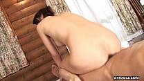 Gorgeous Asian brunette passionately sucks and rides a hairy boner pornhub video