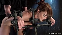 Bent over sub ass whipped in dungeon
