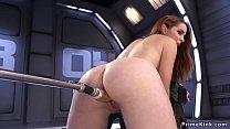 Leaned forward redhead fucked machine thumbnail