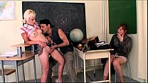 Janitor bangs a schoolgirl and her slutty teacher!