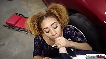 Ebony babe Kendall fucks the mechanic for some discounts Image
