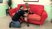 Jessica in a uniform fucked on the couch thumbnail