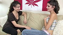 Sweet young lesbian friends have fun with vibrators