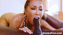 Busty asian MILF Kianna Dior interracial sloppy head