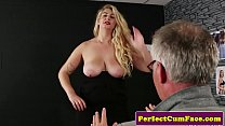 Busty british babe cocksucking until facial