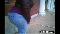 Big Black Booty In Tight Jeans Outside