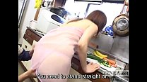 CMNF unfaithful Japanese wife kitchen foreplay Subtitled