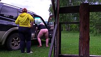 Voyeur outdoors spies on how two mature lesbians make a porn movie. Fat milf with a big ass behind the scenes. Fetish. صورة