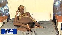 Classy black tgirl wanking in solo session