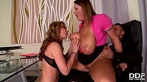 Laura Orsolya and Abbie Cat are two horny secretaries that love anal sex